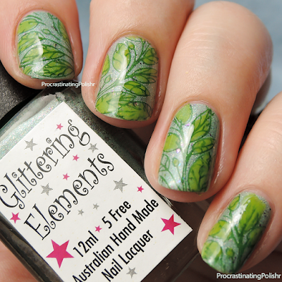 Leafy stamped nail art