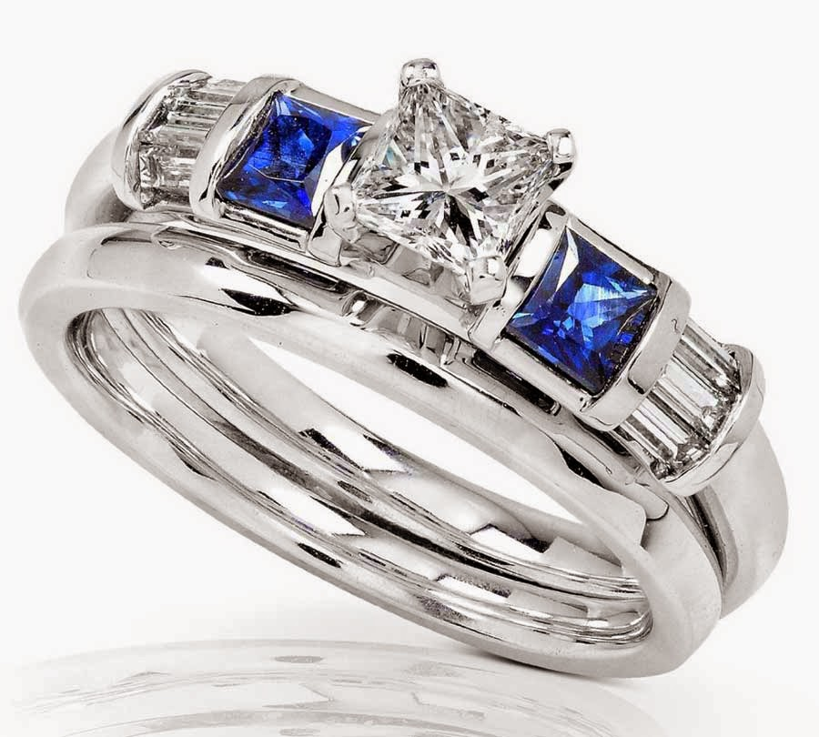 Blue & White Diamond Wedding Ring Sets Amazon Model pictures hd