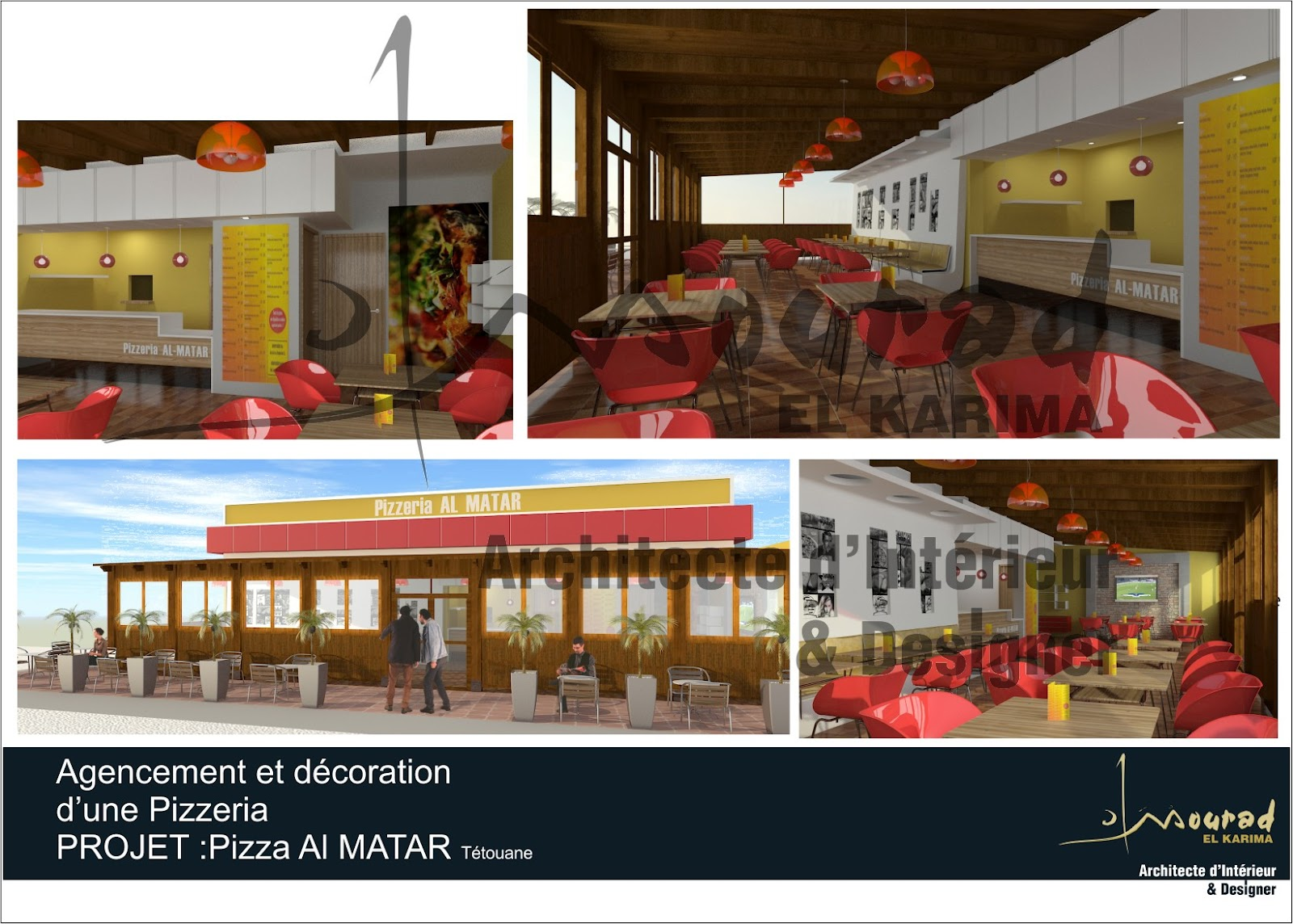 mourad el karima architecte d 39 interieur designer pizzeria al matar t touan. Black Bedroom Furniture Sets. Home Design Ideas