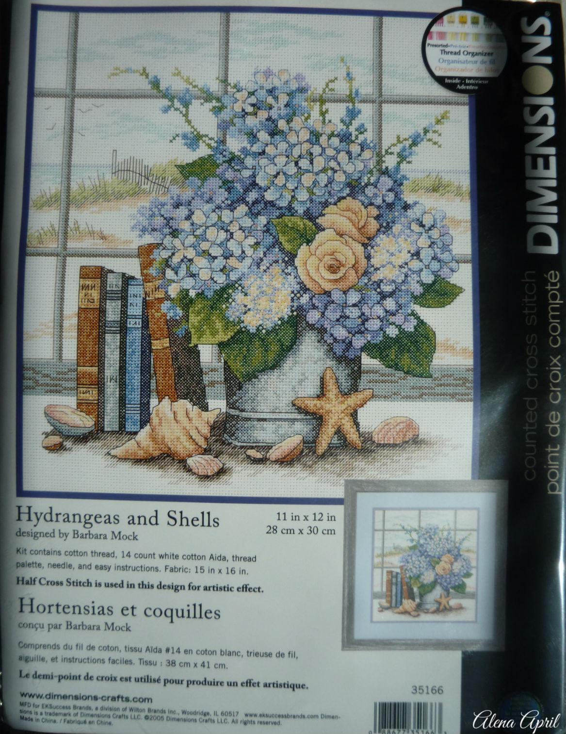 Dimensions 35166  Hydrangeas and Shells (Гортензия и ракушки)