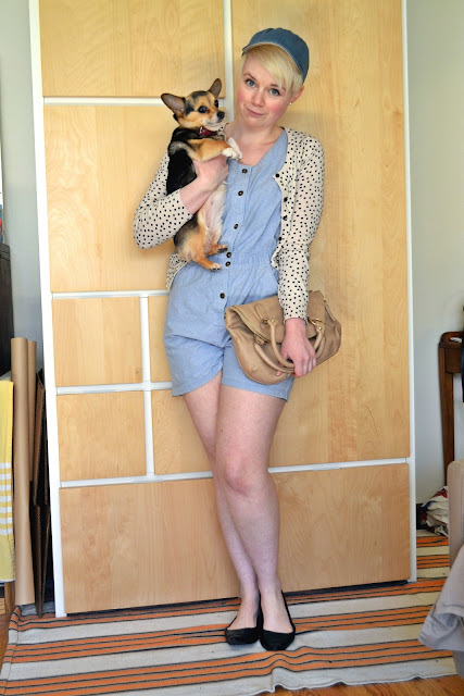 baseball cap, chambray, romper, vintage, polka dots, street style, how to, spring 2013, fleur d'elise, accessorize, mini corgi