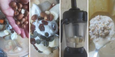 Zubereitung Getreidemüsli mit Obst, Karotten und Haselnüssen