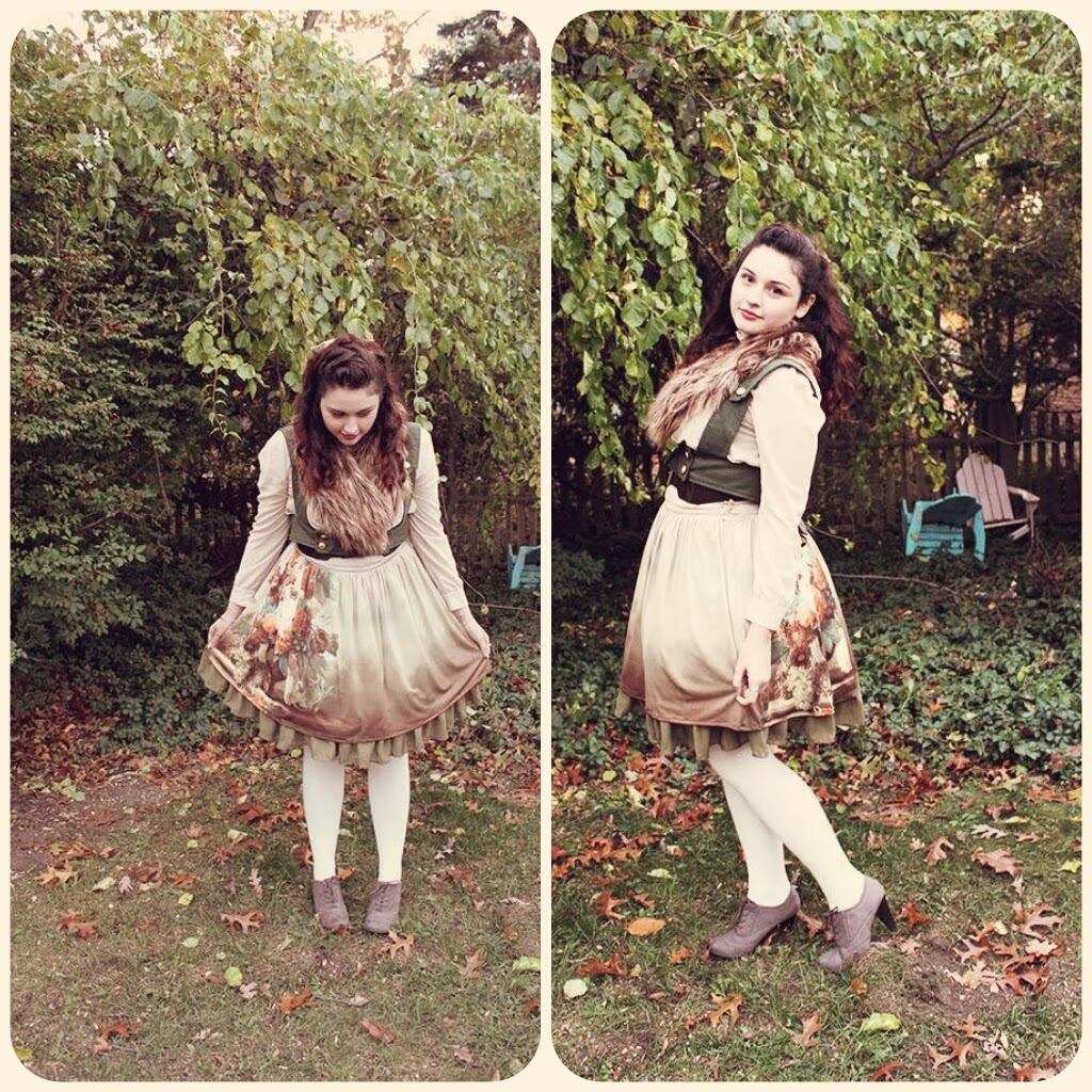 My favorite offbrand/indie brand lolita outfit, featuring a skirt by Innocent World, harness by Redfield Designs, and a Forever 21 blouse.