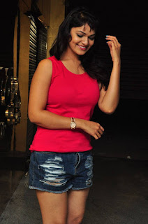 Ashwini In Red Sleeve Less Top and denim shorts spicy Cute Pics