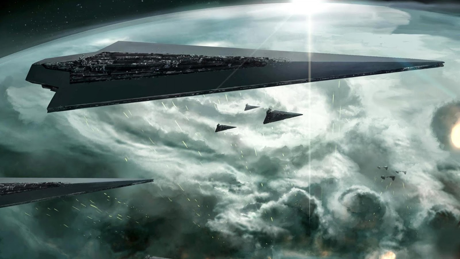 Command ship in orbit