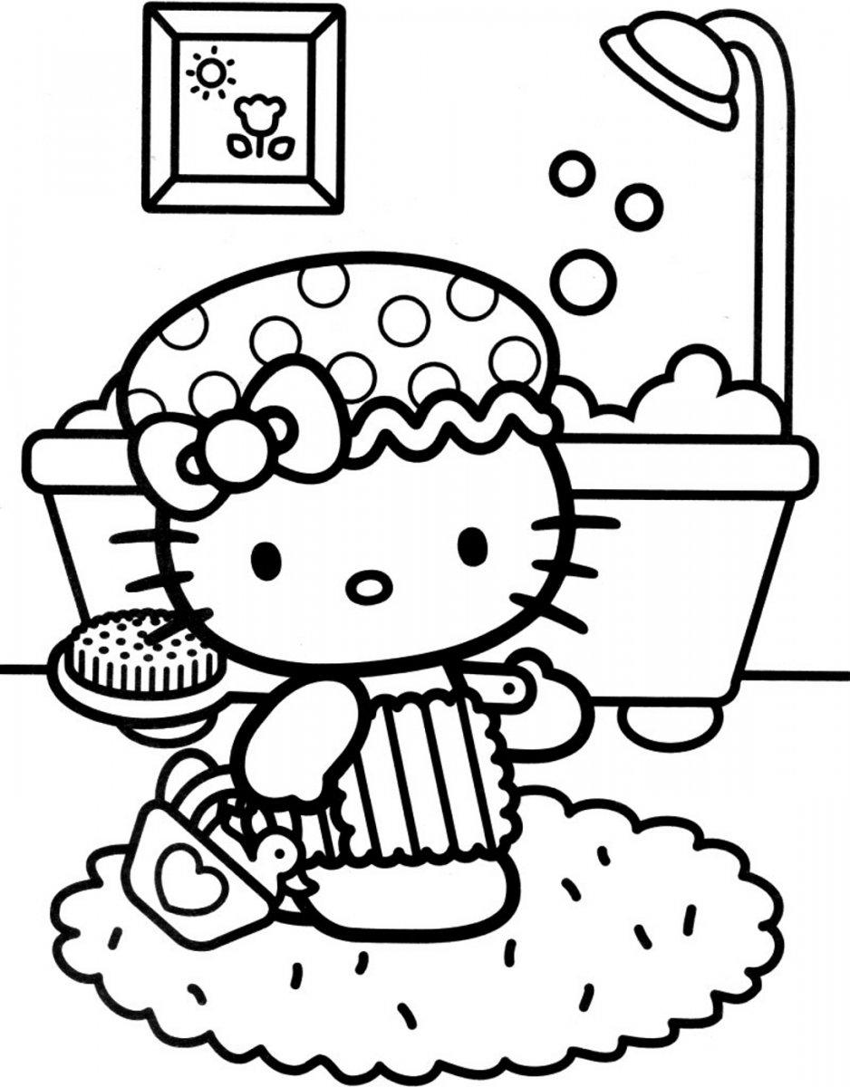 Baños Infantiles Para Colorear: Hello Kitty en el baño para colorear ~ Dibujos para Colorear Infantil