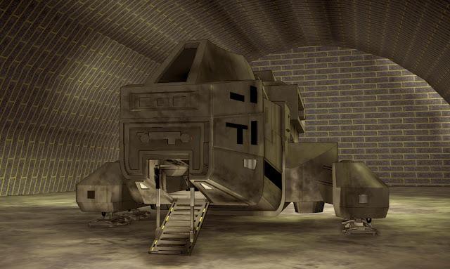 Spaceship in bilding