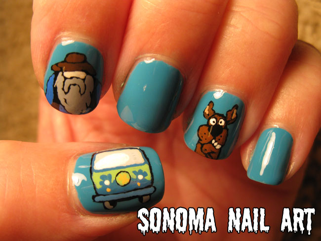 Sonoma nail art 31 day nail art challenge inspired by a color i did the mystery machine from scooby doo as well as the miner 49er and scooby doo himself this mani rules prinsesfo Image collections