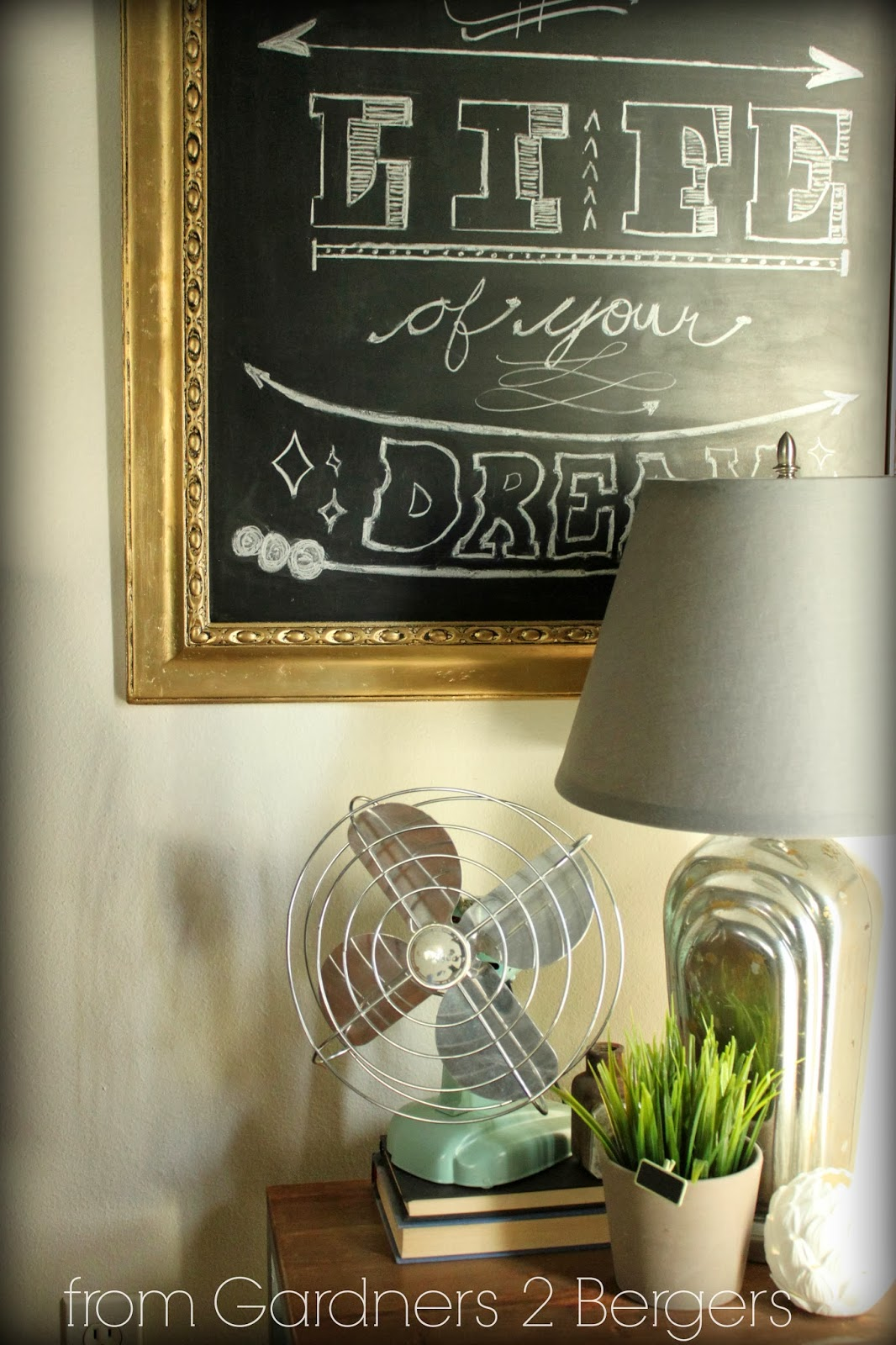 from Gardners 2 Bergers: How to DIY Gild a Gold Frame Chalkboard