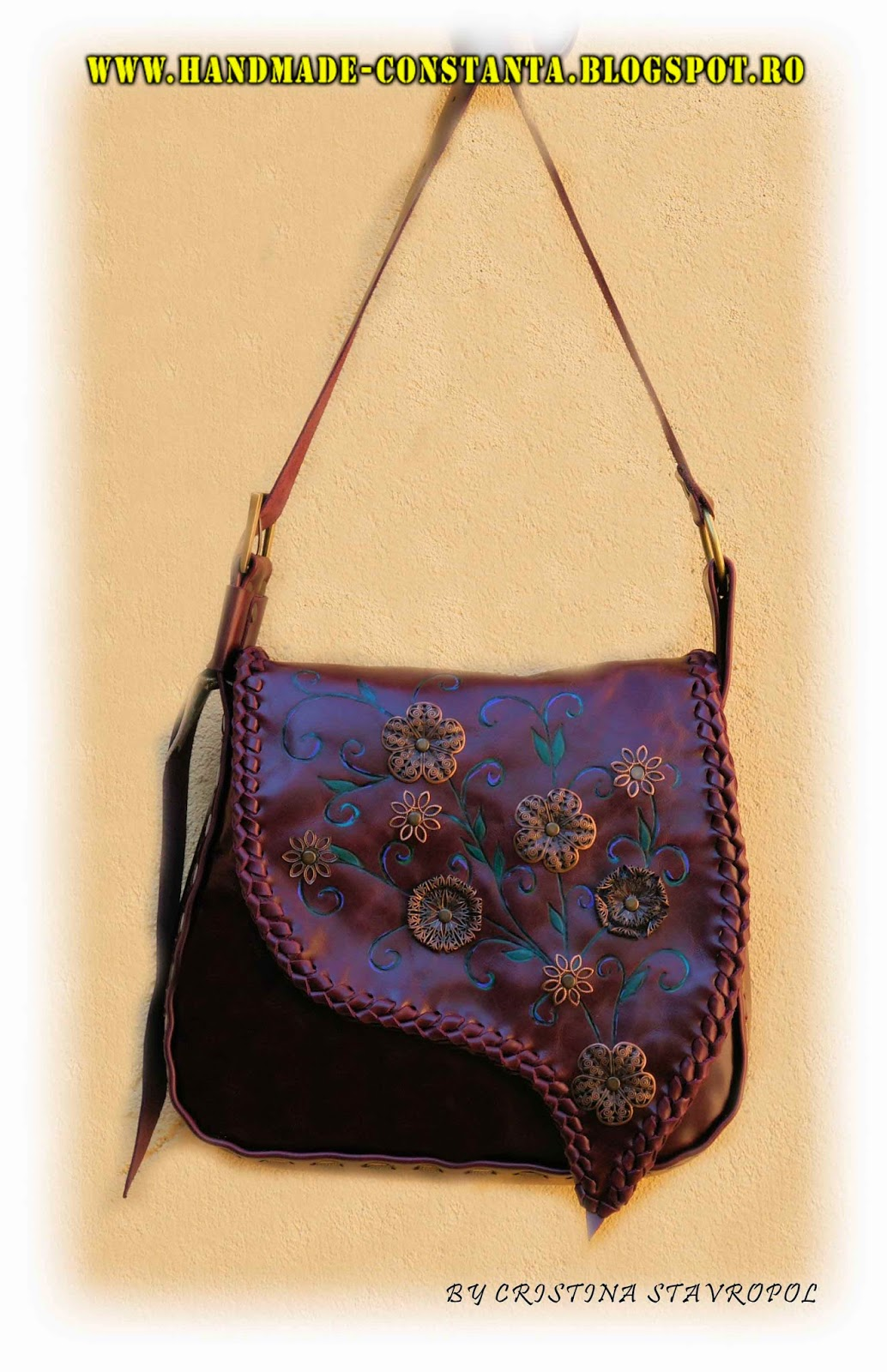 Purple bag, pyrography, applied metal flowers
