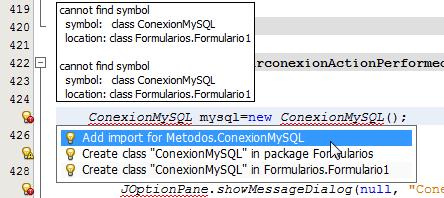 Importamos la Clase ConexionMySQL