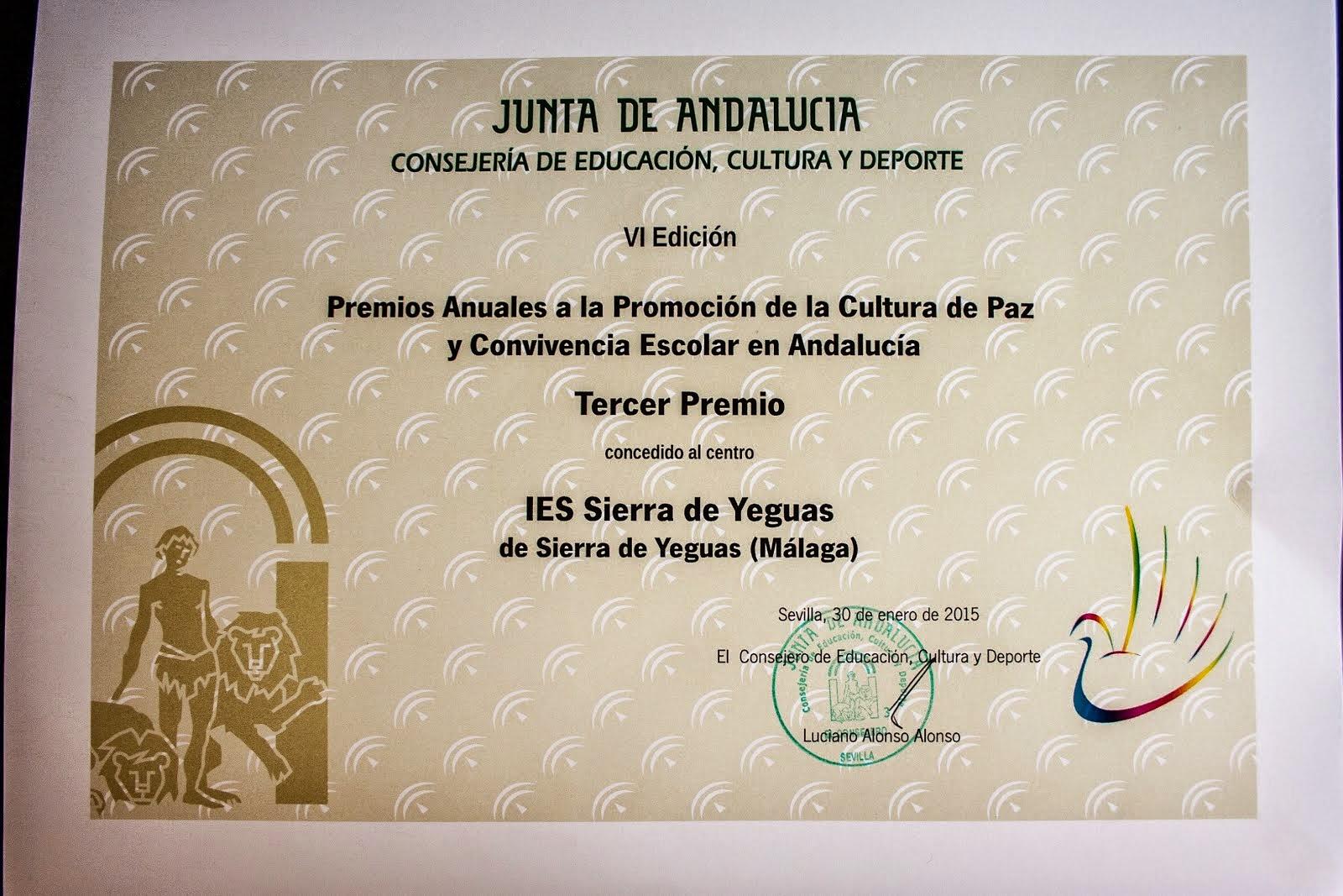 Premio Cultura de Paz y Convivencia Escolar
