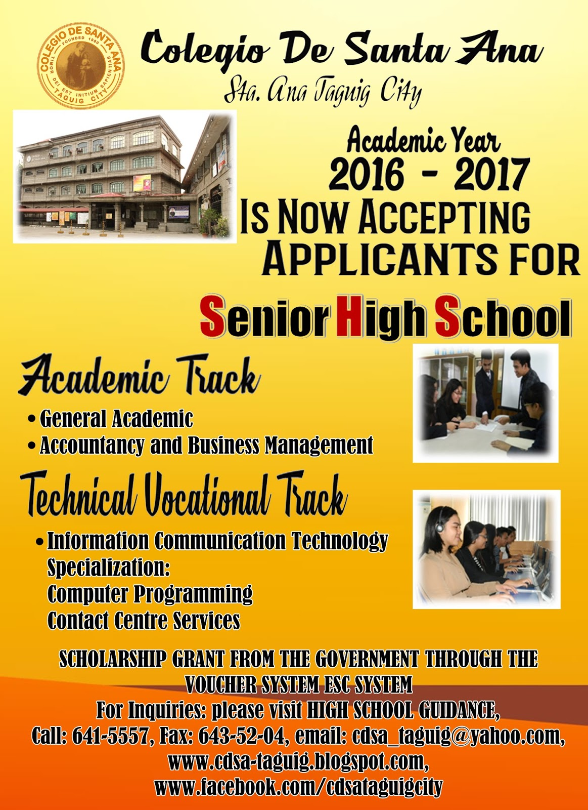 Colegio de santa ana colegio de santa ana is now accepting students for grade 11 senior high school for academic year 2016 2017 please refer to the images below aiddatafo Choice Image