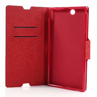 MLT Oracle Grain Leather Wallet Case with Stand for Sony Xperia Z Ultra XL39h C6806 - Red