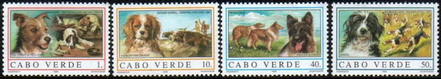 1995年カボベルデ共和国 フォックス・テリア キング・チャールズ・スパニエル コリーとジャーマン・シェパード ブラッコの切手