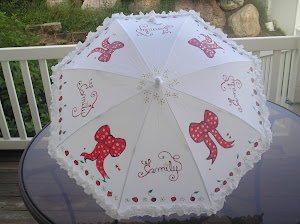 white parasol with red bows, strawberries and cherries