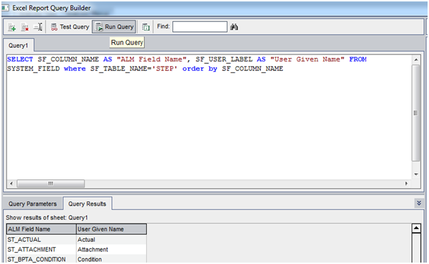 SQL Query in ALM