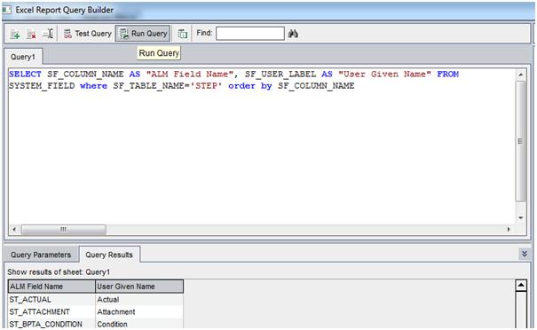 SQL Query in ALM