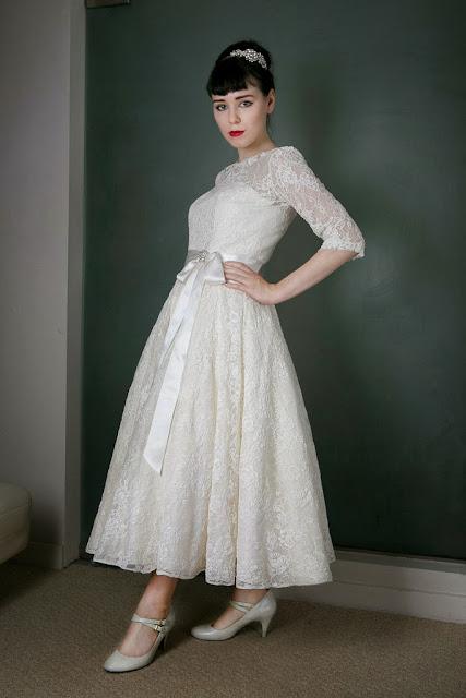 1950s Vintage Wedding Dress 'Blanche' c. HEAVENLY VINTAGE BRIDES -