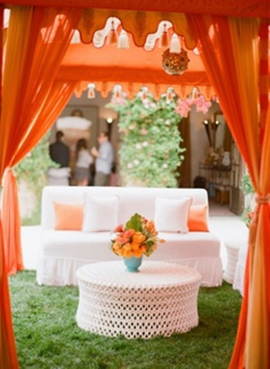 orange wedding in fall