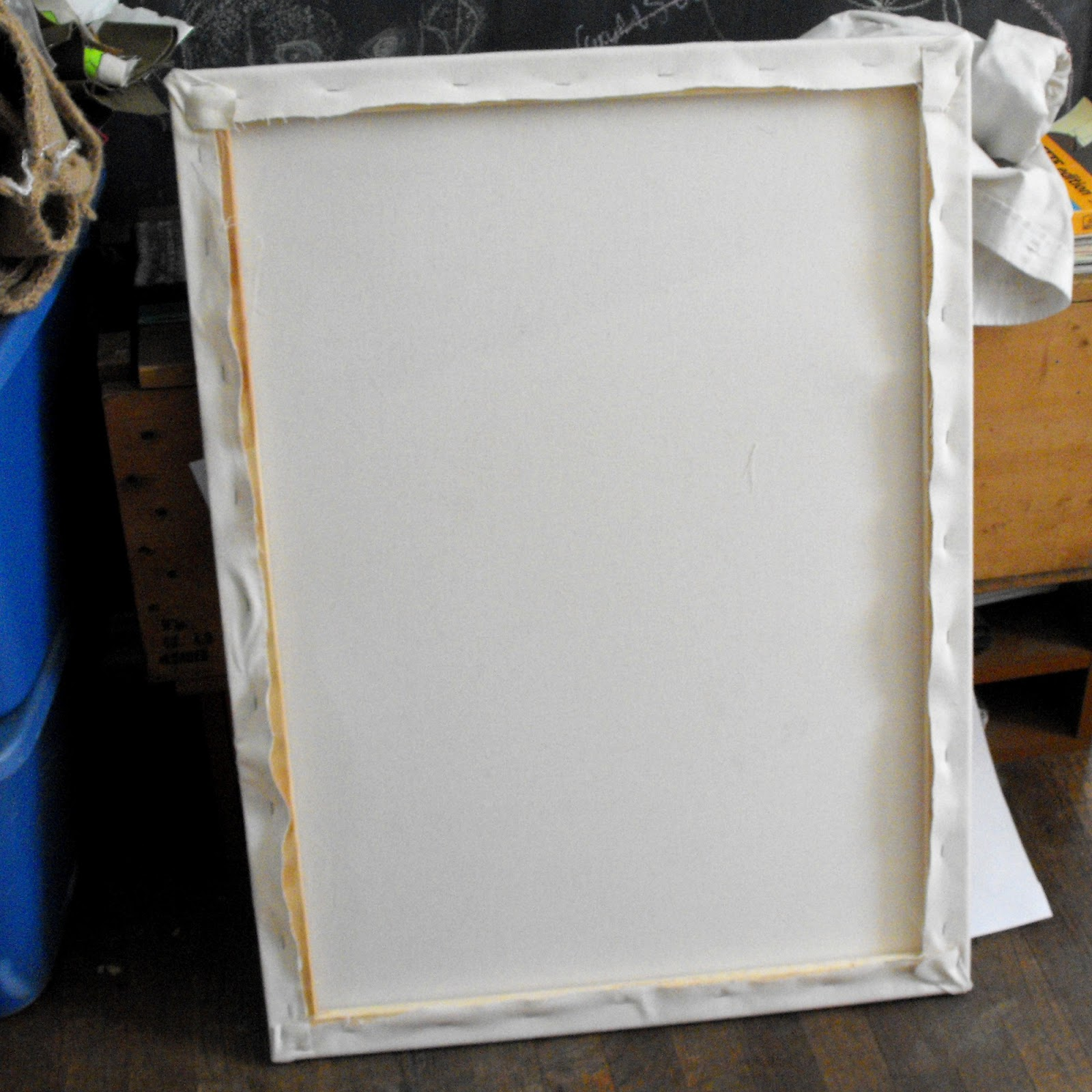 i made my own canvas with 24 and 32 stretcher bars and light tan canvas you could buy a pre made canvas too but it s usually cheaper to make your own if