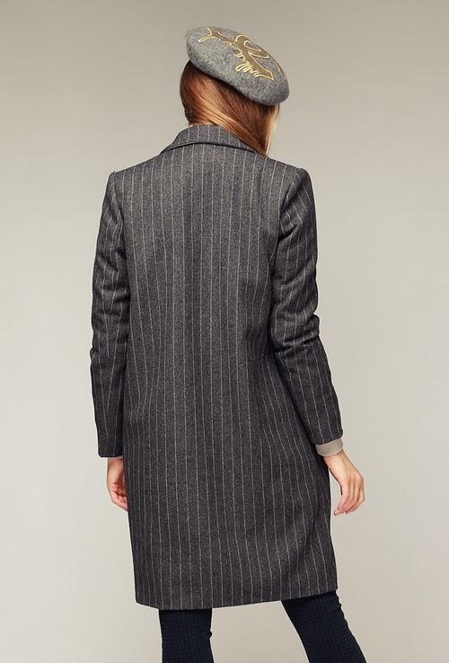 Cosmo Pinstripe Long Jacket-Coat