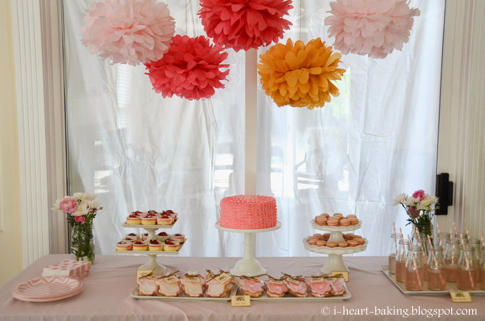 pink baby shower dessert table - sugar cookie favors, macarons, mini ...