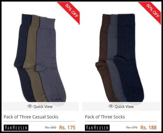 50% Discount On Pack Of 3 Van Heusen Socks + Free Shipping.