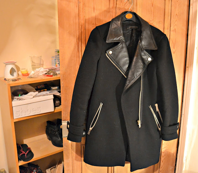 zara black wool leather coat
