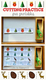 Christmas activities for kids: free cutting practice printables {Welcome to Mommyhood} #freeprintables, #montessori, #toddleractivities, #christmasactivitiesforkids
