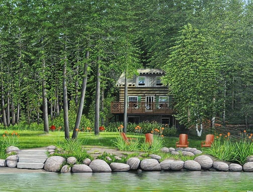 Im genes arte pinturas casas del campo en paisajes - Paisajes de casas de campo ...