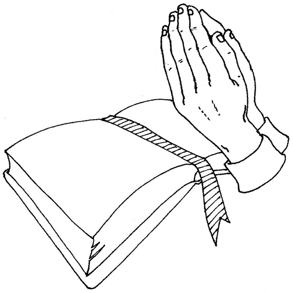 Coloring Pages - Praying Hands With Bible title=