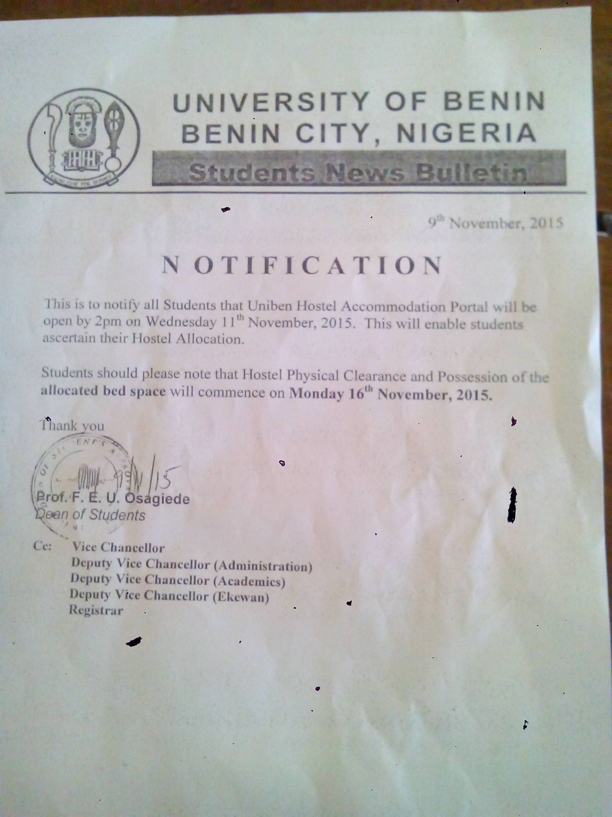 resume When Is Uniben Resuming uniben gist notification for hostel application this is to notify all students of that the accommodation portal will be opened by 2pm on wednesday 11th november 2015
