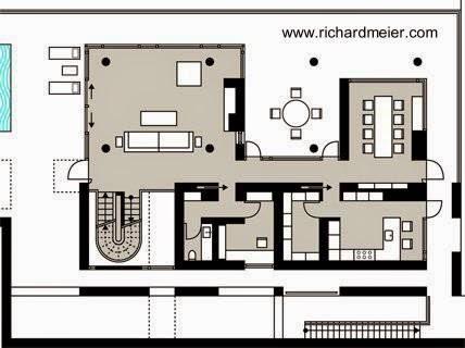 Plano de planta de la villa en Turquía - Richard Meier