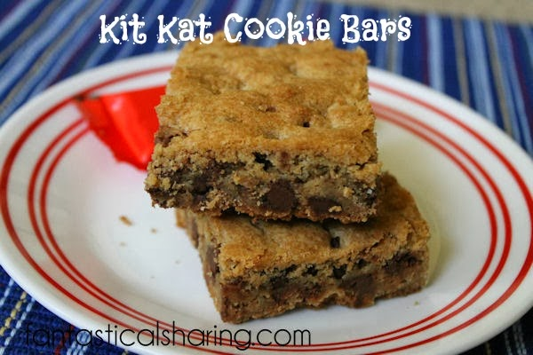 Kit Kat Cookie Bars | Soft, chewy chocolate chip cookie blondies with pieces of Kit Kats inside!