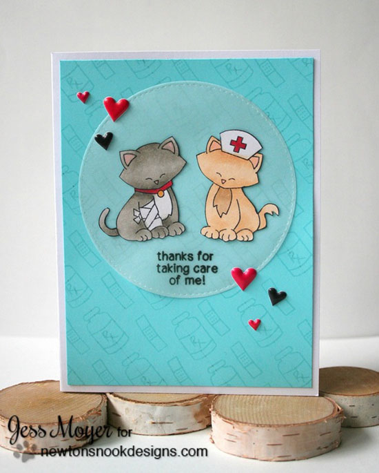 Get Well Cat card by Jess Moyer | Newton's Sick Day Stamp set by Newton's Nook Designs