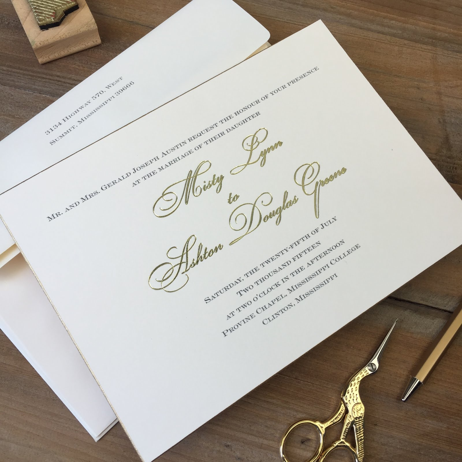 Misty Austin and Ashton Greene wedding invitations | Fresh Ink ...