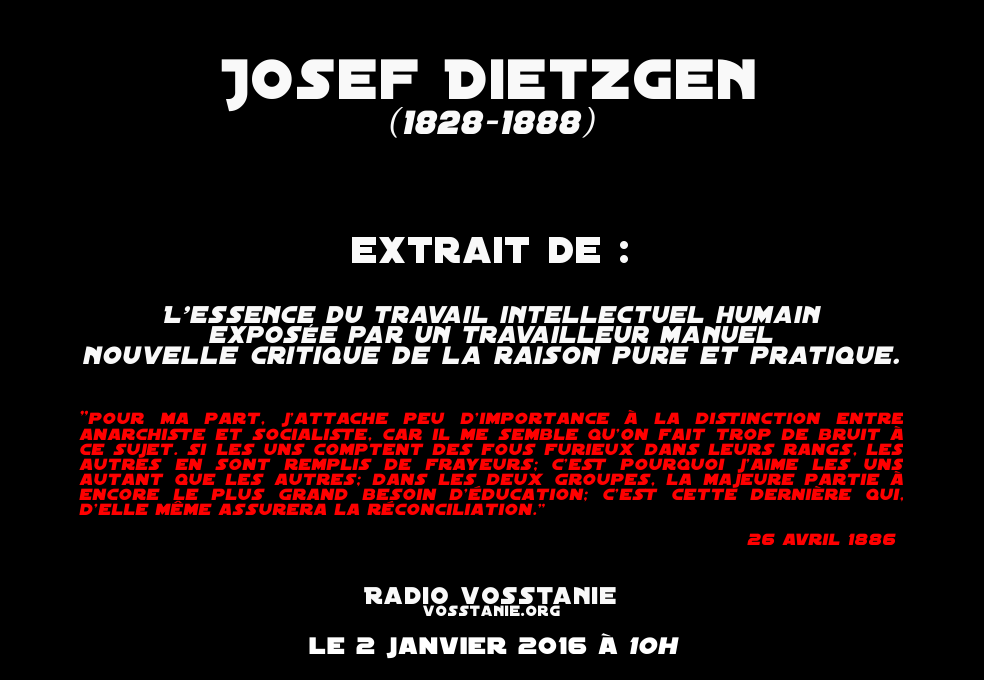 Josef DIETZGEN : L'essence du travail intellectuel humain exposée par un travailleur manuel