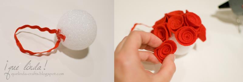 Елочный шарик  из фетра.