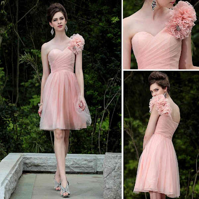 Light Pink One Shoulder Knee Length Dress