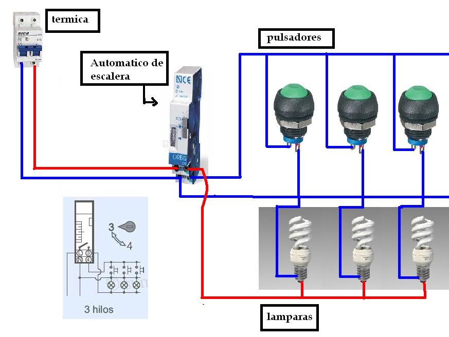Blog del electricista automatico de escalera tres hilos for Escalera de electricista
