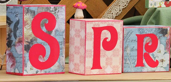Spring Wood Blocks using Mod Podge and Vinyl Letters