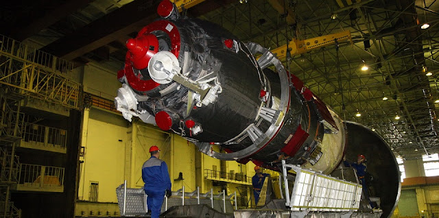 Progress-MS spacecraft in the vacuum chamber at the Baikonur Space Center. Photo Credit: RKK Energia