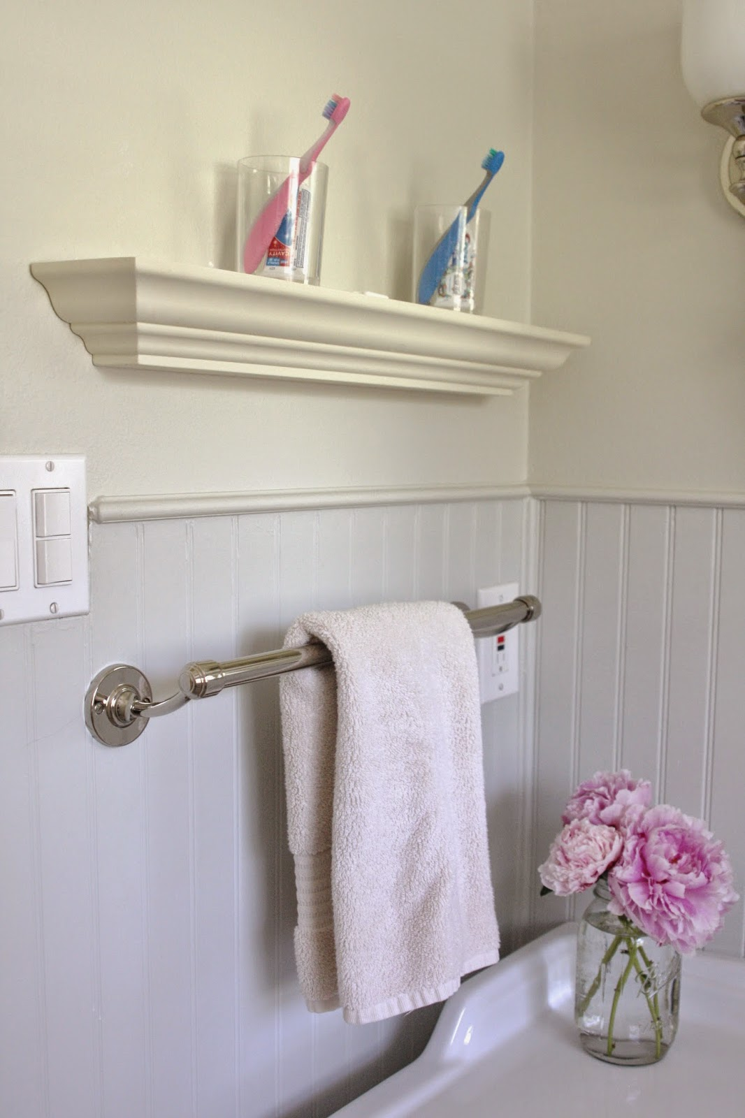 Elegant I also added this ledge to serve as a spot for the kids to keep toothbrushes toothpaste floss and a couple rinsing cups u