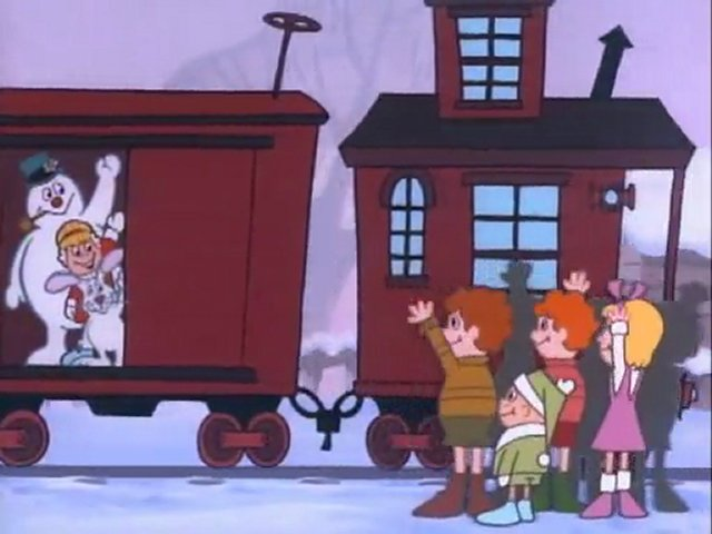 Karen, Hocus Pocus and Frosty boarding the train in Frosty the Snowman 1969 disneyjuniorblog.blogspot.com