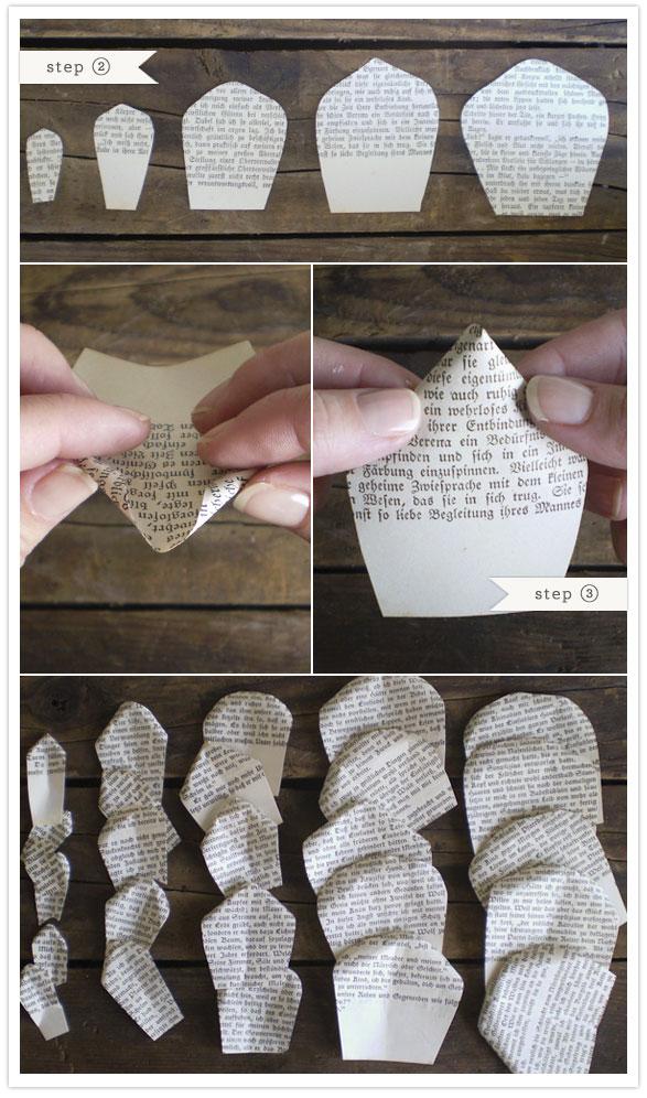 faça você mesmo buquê de flores feito com folhas de livro jornal reciclado diy