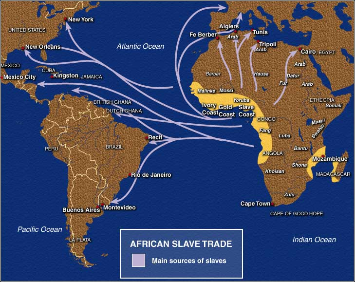 The system known as triangular trade involved