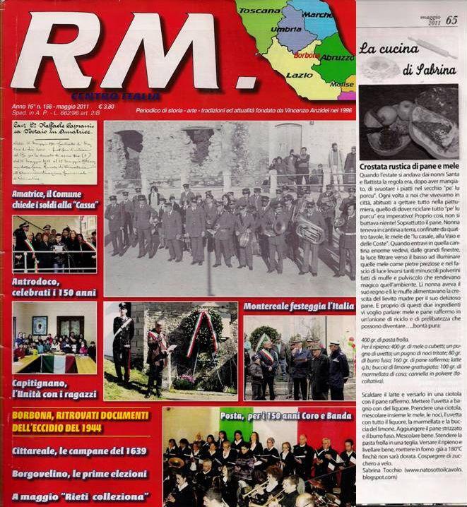Scrivo le mie ricette anche su questa rivista mensile del Centro Italia