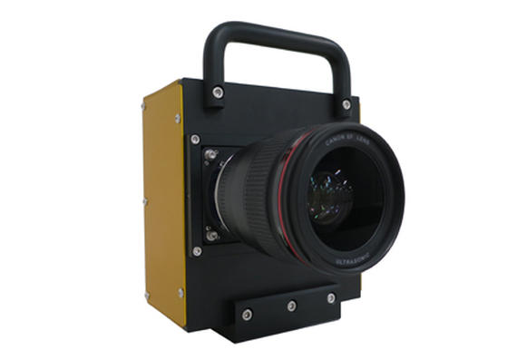 A camera prototype equipped with the newly developed CMOS sensor (Shown with EF 35mm f/1.4 USM lens)