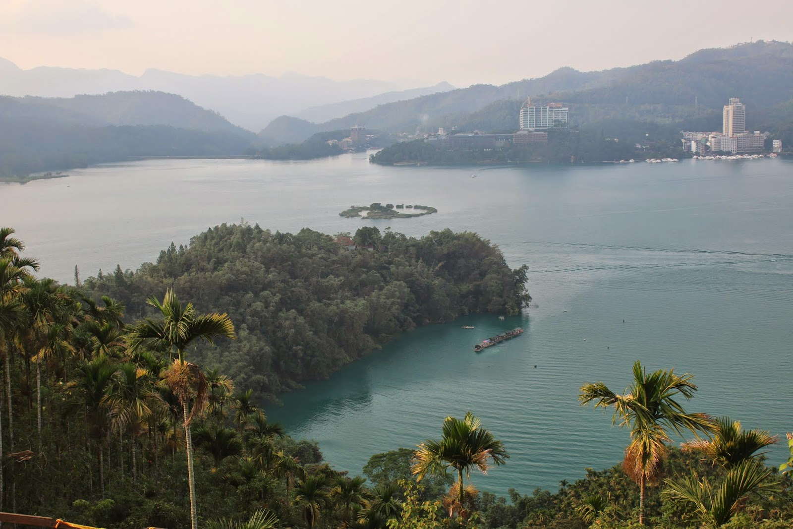 It's clear beautiful scenic lake view of Sun Moon Lake and Lalu Island from Xuanzang Temple in Nantou County of Taiwan